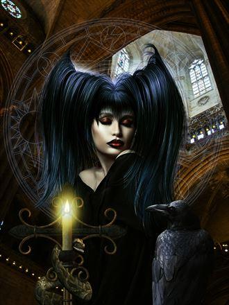 praying fantasy artwork by artist karinclaessonart