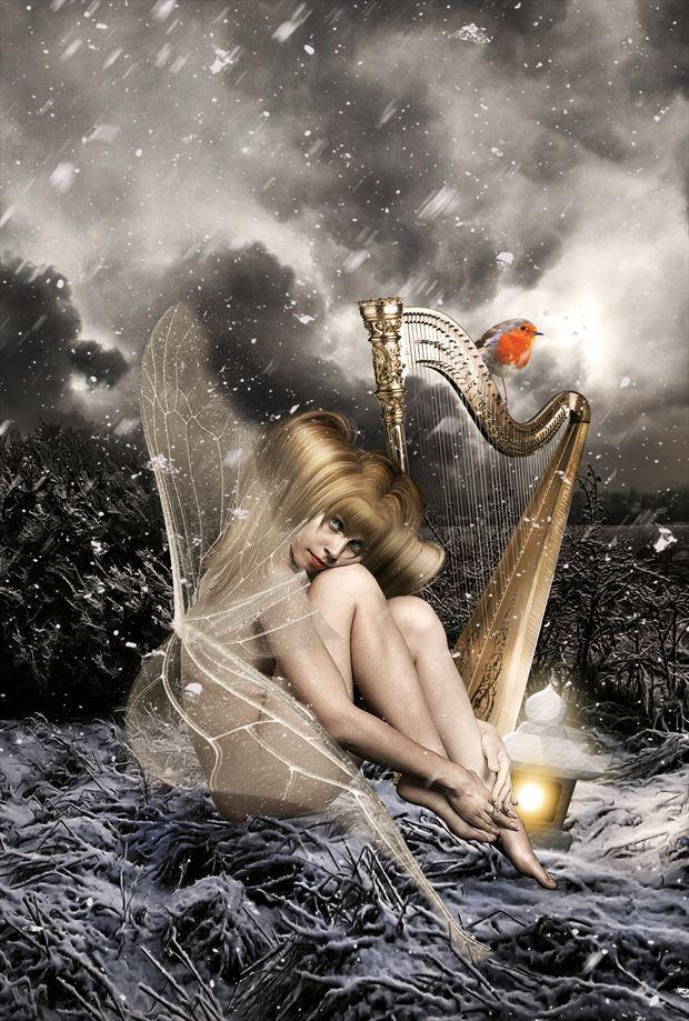 resting winterfairy fantasy artwork by artist karinclaessonart
