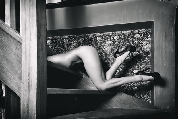 running up the stairs artistic nude photo by photographer omega photography