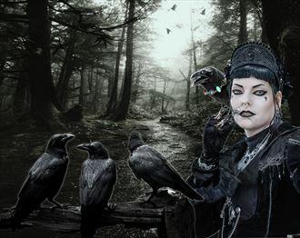 the raven caretaker fantasy artwork by artist karinclaessonart