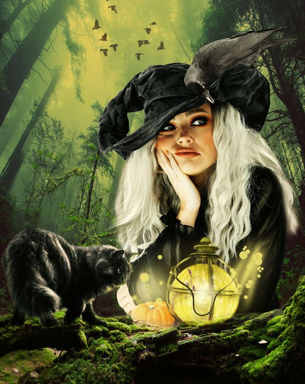 waiting for halloween fantasy artwork by artist karinclaessonart