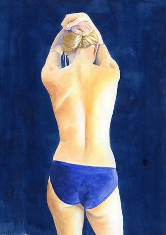 2012, Watercolor Artistic Nude Artwork by Artist aquarellist