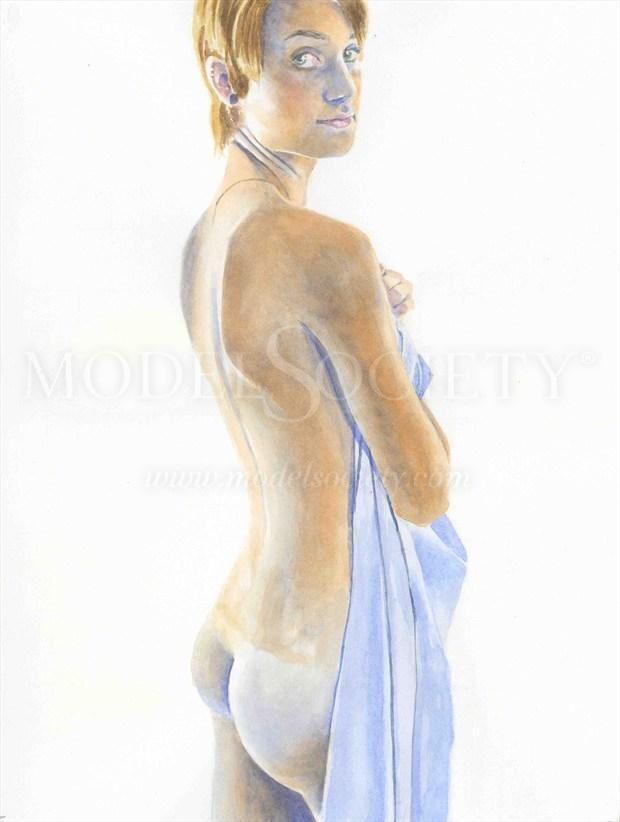 2014, Watercolor Artistic Nude Artwork by Artist aquarellist