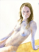 2014, Watercolor Artistic Nude Artwork by Artist aquarellist