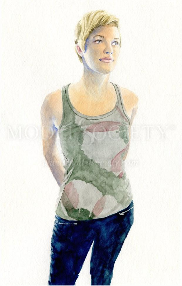 2014, Watercolor Figure Study Artwork by Artist aquarellist