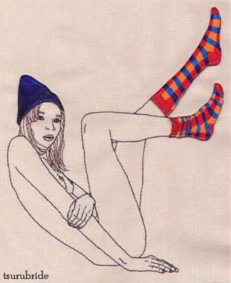 2014 how to survive a polar vortex embroidery by tsurubride artistic nude artwork by model sunken owl