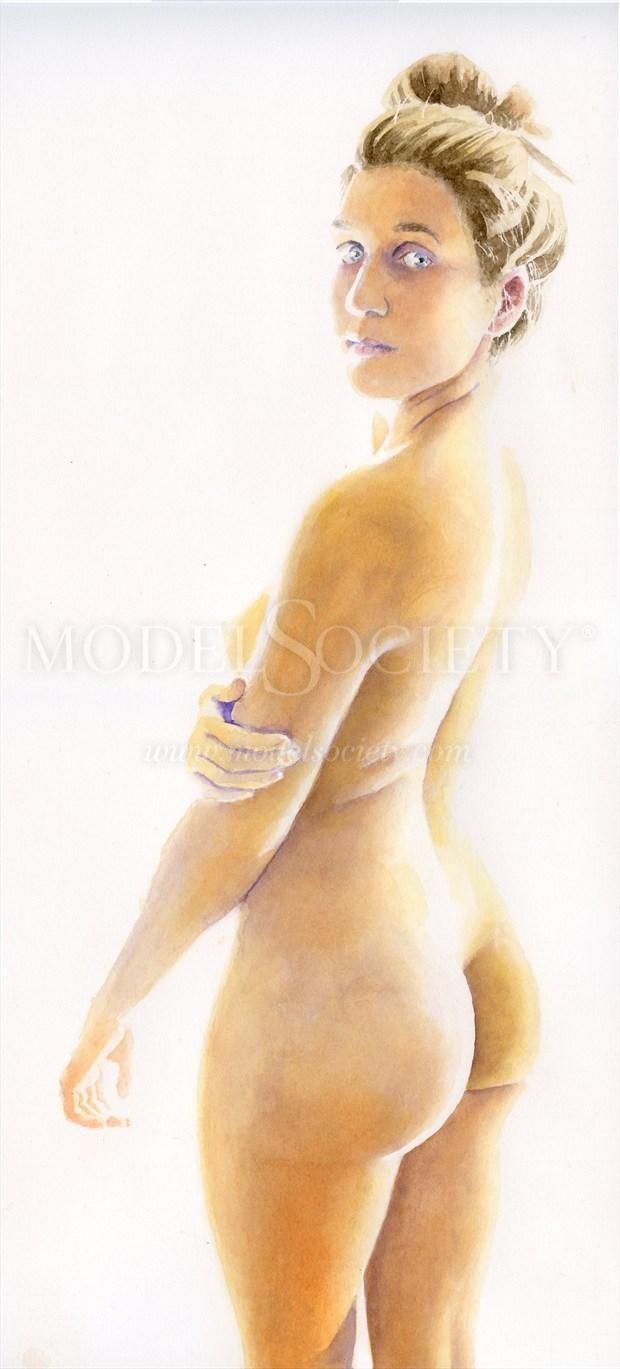2015, Watercolor Artistic Nude Artwork by Artist aquarellist