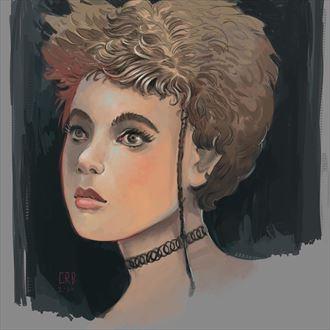 80s girl portrait artwork by artist craig brasco