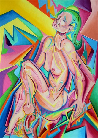 Abstract Nude With Green Hood Artistic Nude Artwork by Artist Andrew Chambers