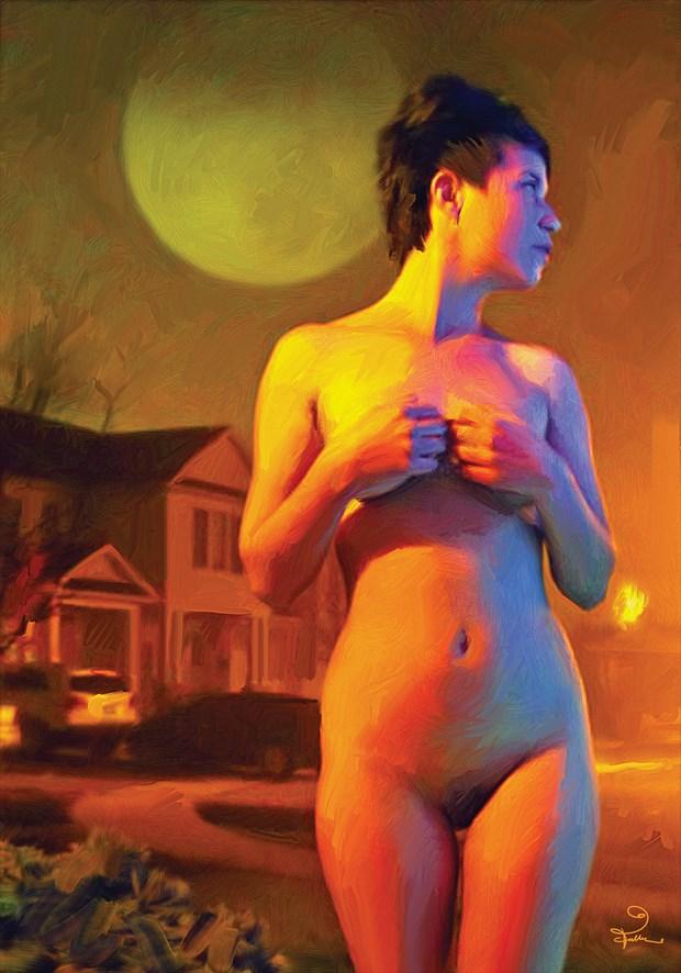 Alien In Suburbia Fantasy Artwork by Artist Van Evan Fuller