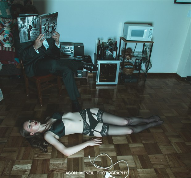 An intriguing start to the evening. Lingerie Photo by Model Satine Lynn