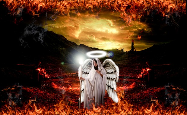Angel's Descent   The Damned Series Fantasy Artwork by Photographer Mez