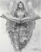 Angel of Memory %E2%80%93 drawing %23918, Fantasy Artwork by Artist Matthew Joseph Peak