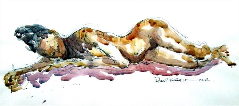 Annabelle Reclining Artistic Nude Artwork by Artist Roger Burnett