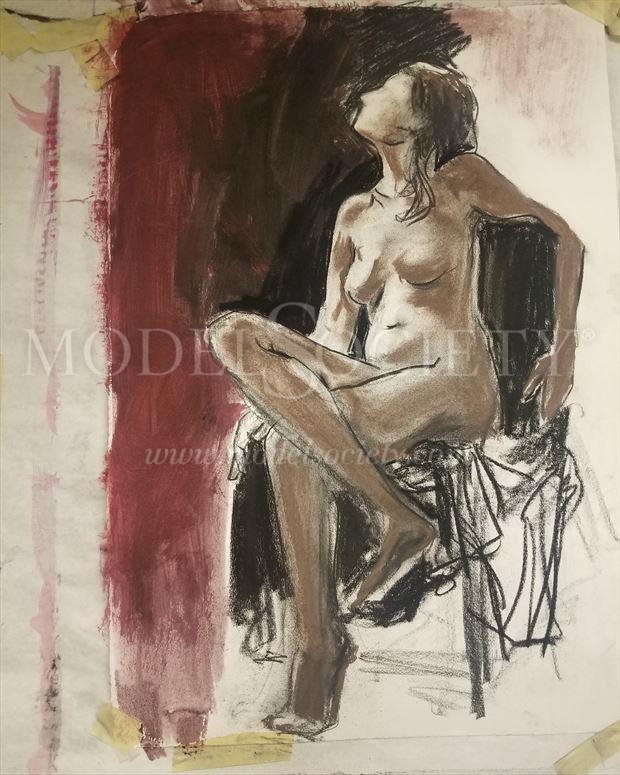 Artistic Nude Painting or Drawing Artwork by Model Beth Elle