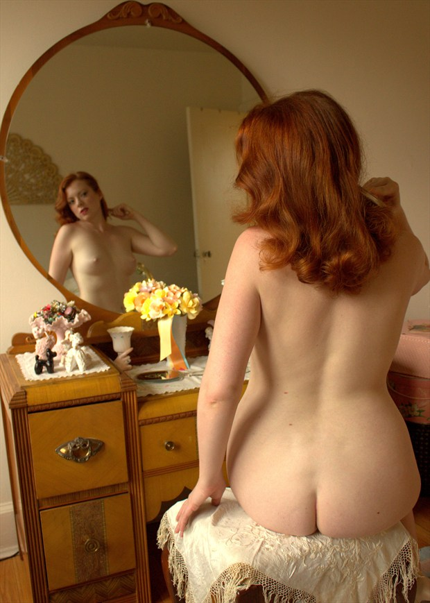 At her Bedroom Mirror Artistic Nude Photo by Photographer Fred Scholpp Photo