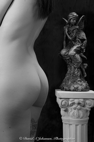 B&W Nude with Statue Artistic Nude Photo by Photographer Red Jade