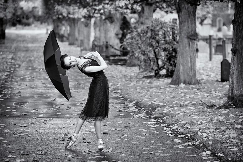 Ballerina with umbrella Retro Photo by Photographer carincharlotte