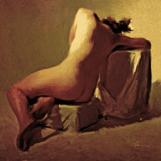 Becca In Gold Artistic Nude Artwork by Artist Van Evan Fuller