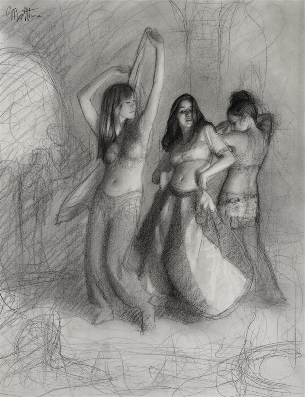 Belly Dance Trio %E2%80%93 drawing %231085 Figure Study Artwork by Artist Matthew Joseph Peak