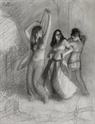 Belly Dance Trio %E2%80%93 drawing %231085 Figure Study Artwork by Artist Matthew Joseph Peak
