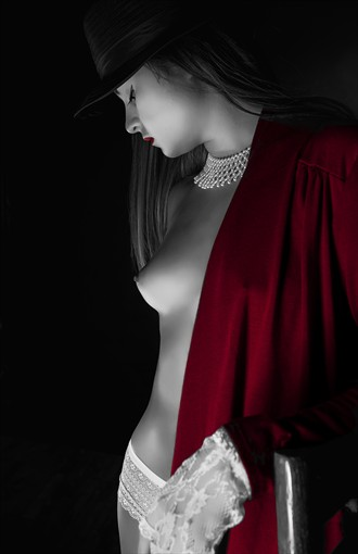 Black, White and Shades of Red Artistic Nude Photo by Photographer MSlygh