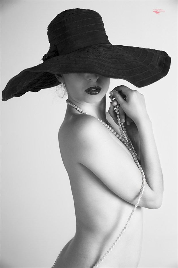 Black Hat and Pearls I Sensual Artwork by Photographer Miller Box Photo