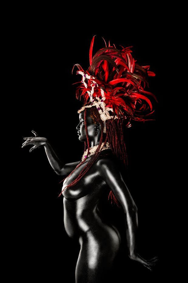 Black Naomi Dances the Samba in Profile Artistic Nude Photo by Photographer Ian Cartwright