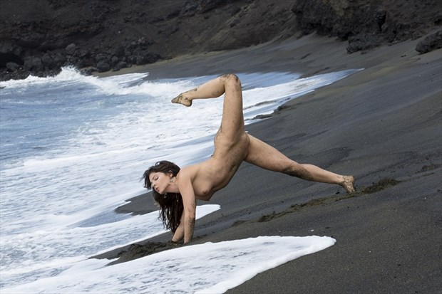 Black Sand Beach Nude Yoga Artistic Nude Photo by Model Pure Rebel