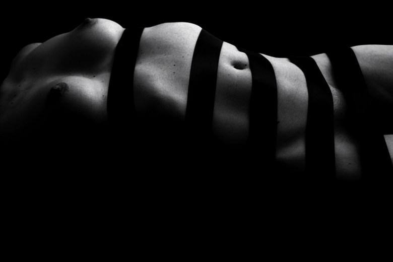 Black ribbon by Rodvin Davis Artistic Nude Artwork by Model Just Ana