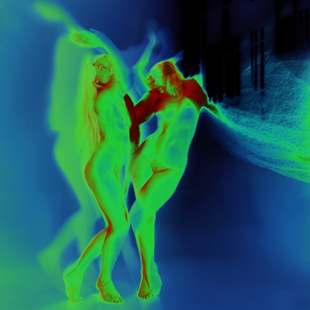 Blue, Green, and Red Artistic Nude Photo by Photographer Mark Bigelow