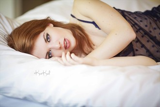 Blue Lace Lingerie Photo by Model Helen Stephens