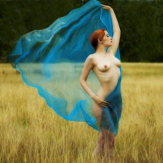 Blue Organza Artistic Nude Photo by Photographer MaxOperandi