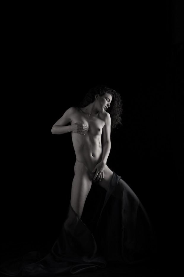 Blue Satin Artistic Nude Photo by Photographer Mez