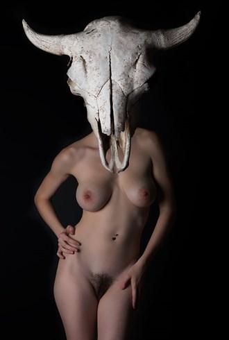 Buffalo head  Artistic Nude Artwork by Model Audrey Benoit