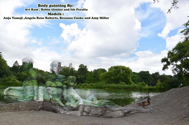 Camoeflage Body Paint (Multiple Artists) Artistic Nude Artwork by Model Angela Ren%C3%A9 Roberts