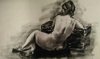 Charcoal %233 Figure Study Artwork by Model BeatnikDiva