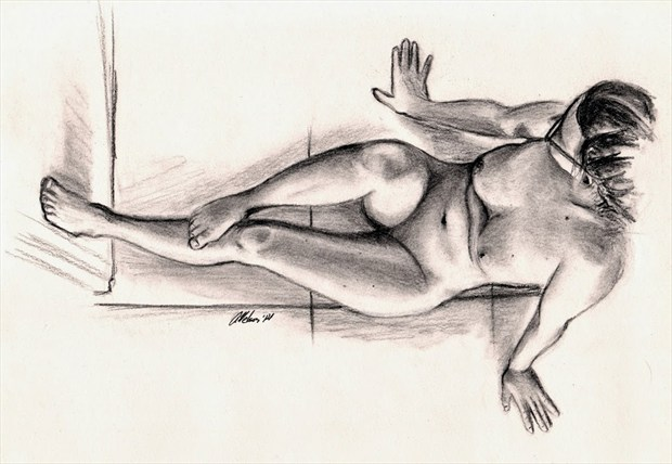Charcoal Figure Artistic Nude Artwork by Artist AnthonyNelsonArt