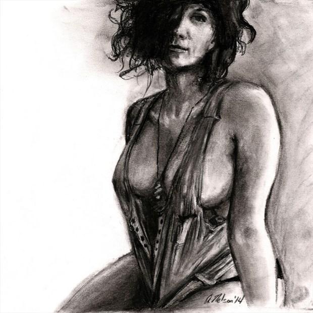 Charcoal Figure Figure Study Artwork by Artist AnthonyNelsonArt