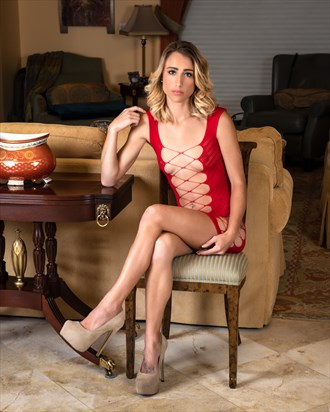 Chelsea Jo in Red Lace Dress... Fashion Photo by Photographer CC Art Nudes