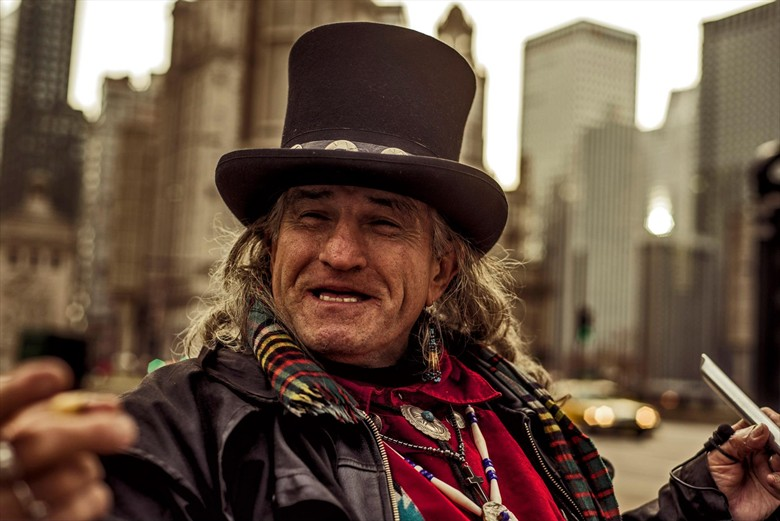 Chicago st. performer.  Portrait Photo by Photographer Fauxtoe Flux