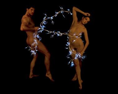 Christmas Lights Artistic Nude Photo by Model Joe Mackey