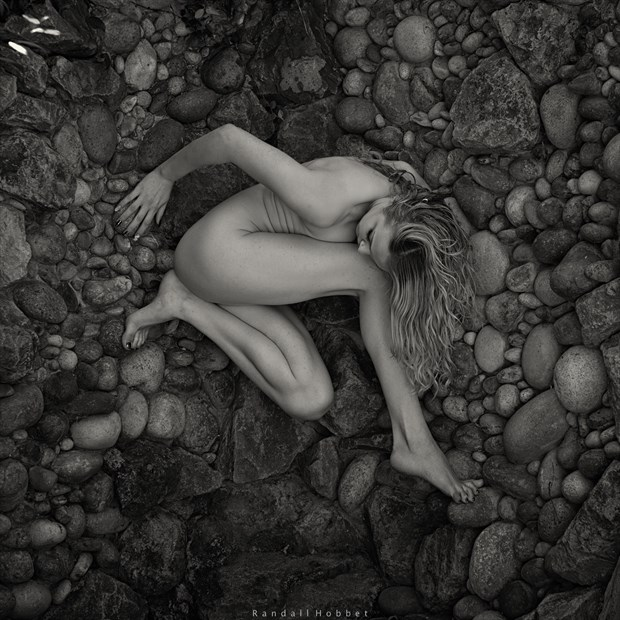 Cienna on the rock wall Artistic Nude Photo by Photographer Randall Hobbet