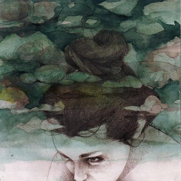 Clouds Expressive Portrait Artwork by Artist Elia Fern%C3%A1ndez