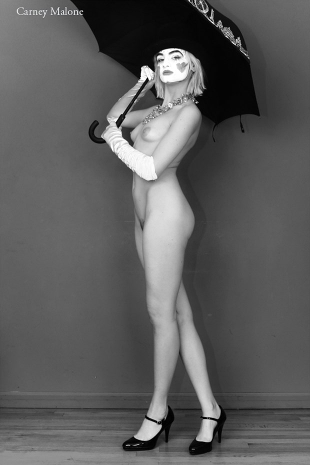 Clown Holding Umbrella Artistic Nude Photo by Photographer Carney Malone