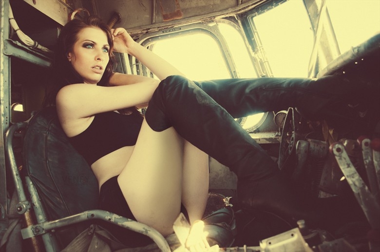 Co Pilot Vintage Style Photo by Model Shaun Tia