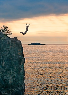 """At 7:00am with our first shoot together coming to an end, it was already a sweltering August day.  I told Billy, """"I'm going to jump off the cliff before we leave.  Do you want to take a picture?""""  He did."""