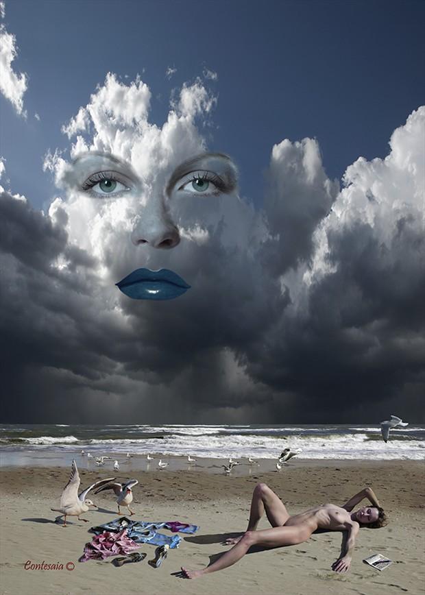 Con la Testa fra le Nuvole Artistic Nude Artwork by Artist Contesaia