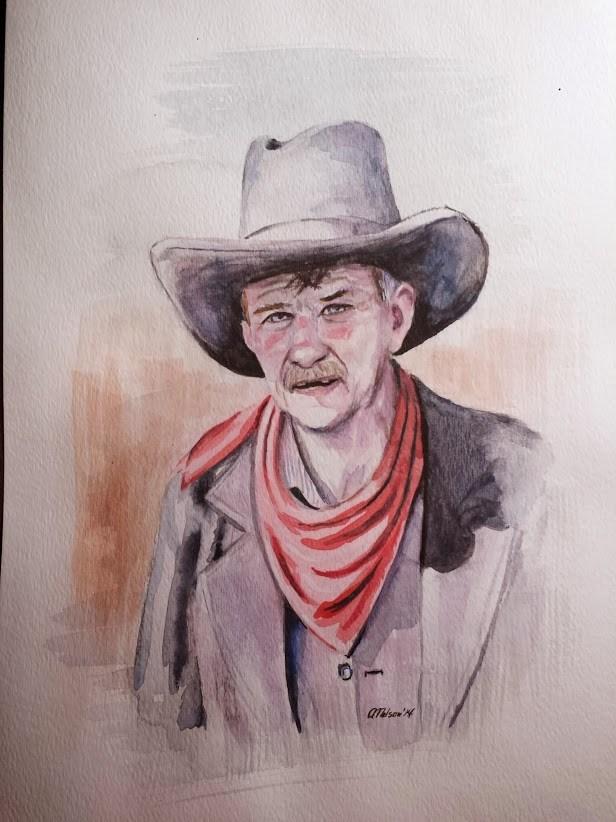 Cowboy Portrait Artwork by Artist AnthonyNelsonArt
