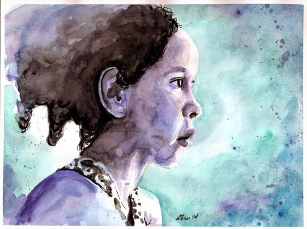 Curious Girl Expressive Portrait Artwork by Artist AnthonyNelsonArt